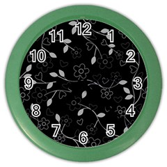 Floral Pattern Color Wall Clocks by Valentinaart