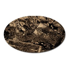 Vintage Newspaper  Oval Magnet by Valentinaart