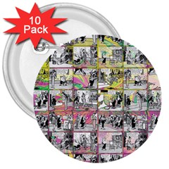 Comic Book  3  Buttons (10 Pack)  by Valentinaart