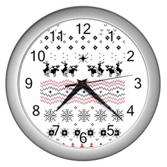 Ugly Christmas Humping Wall Clocks (silver)  by Onesevenart