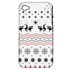 Ugly Christmas Humping Apple Iphone 4/4s Hardshell Case (pc+silicone) by Onesevenart
