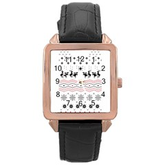 Ugly Christmas Humping Rose Gold Leather Watch  by Onesevenart