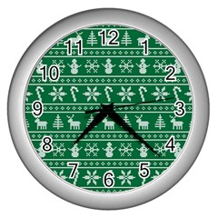 Ugly Christmas Wall Clocks (silver)  by Onesevenart