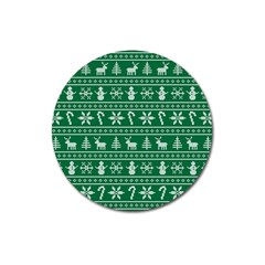 Ugly Christmas Magnet 3  (round) by Onesevenart