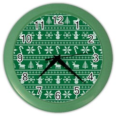 Ugly Christmas Color Wall Clocks by Onesevenart