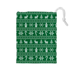 Ugly Christmas Drawstring Pouches (large)  by Onesevenart