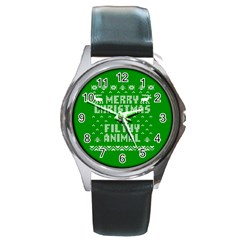 Ugly Christmas Sweater Round Metal Watch by Onesevenart