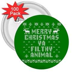 Ugly Christmas Sweater 3  Buttons (100 Pack)  by Onesevenart