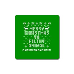 Ugly Christmas Sweater Square Magnet by Onesevenart
