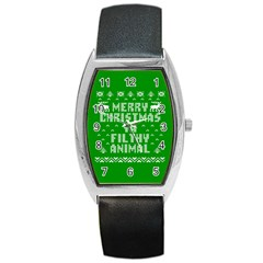Ugly Christmas Sweater Barrel Style Metal Watch by Onesevenart