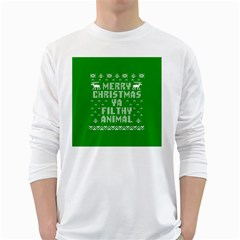 Ugly Christmas Sweater White Long Sleeve T Shirts by Onesevenart
