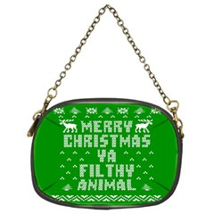 Ugly Christmas Sweater Chain Purses (two Sides)  by Onesevenart