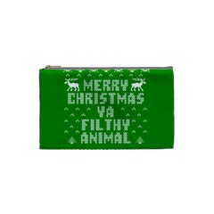 Ugly Christmas Sweater Cosmetic Bag (small)  by Onesevenart