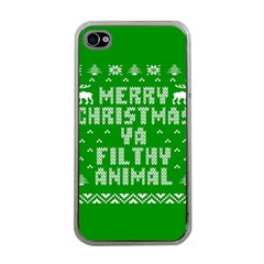 Ugly Christmas Sweater Apple Iphone 4 Case (clear) by Onesevenart