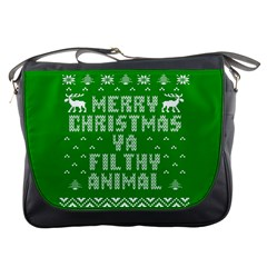 Ugly Christmas Sweater Messenger Bags by Onesevenart