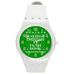 Ugly Christmas Sweater Round Plastic Sport Watch (m) by Onesevenart