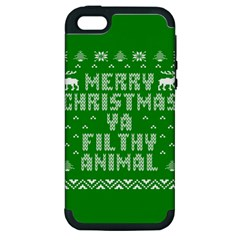 Ugly Christmas Sweater Apple Iphone 5 Hardshell Case (pc+silicone) by Onesevenart