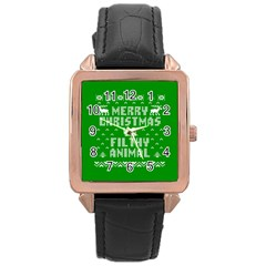 Ugly Christmas Sweater Rose Gold Leather Watch  by Onesevenart