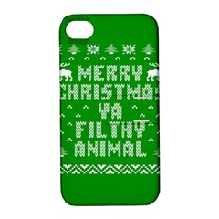 Ugly Christmas Sweater Apple Iphone 4/4s Hardshell Case With Stand by Onesevenart