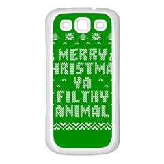 Ugly Christmas Sweater Samsung Galaxy S3 Back Case (white) by Onesevenart