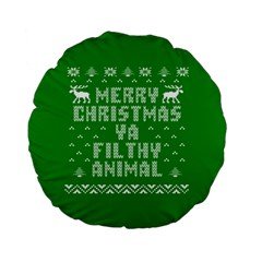 Ugly Christmas Sweater Standard 15  Premium Flano Round Cushions by Onesevenart