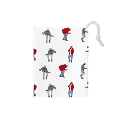 Drake Ugly Holiday Christmas Drawstring Pouches (small)  by Onesevenart