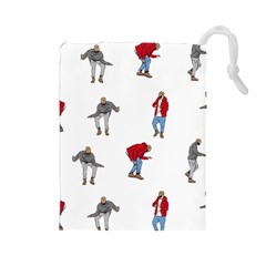 Drake Ugly Holiday Christmas Drawstring Pouches (large)  by Onesevenart