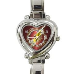 Flash Flashy Logo Heart Italian Charm Watch by Onesevenart