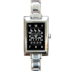 Holiday Party Attire Ugly Christmas Black Background Rectangle Italian Charm Watch by Onesevenart