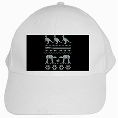 Holiday Party Attire Ugly Christmas Black Background White Cap by Onesevenart
