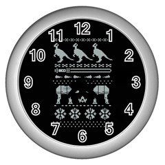 Holiday Party Attire Ugly Christmas Black Background Wall Clocks (silver)  by Onesevenart