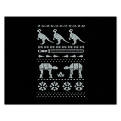 Holiday Party Attire Ugly Christmas Black Background Rectangular Jigsaw Puzzl by Onesevenart