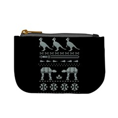 Holiday Party Attire Ugly Christmas Black Background Mini Coin Purses by Onesevenart