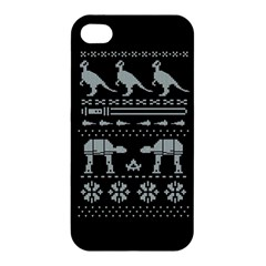 Holiday Party Attire Ugly Christmas Black Background Apple Iphone 4/4s Hardshell Case by Onesevenart