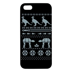 Holiday Party Attire Ugly Christmas Black Background Apple Iphone 5 Premium Hardshell Case by Onesevenart