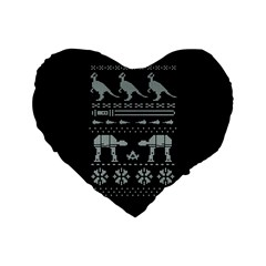 Holiday Party Attire Ugly Christmas Black Background Standard 16  Premium Flano Heart Shape Cushions by Onesevenart