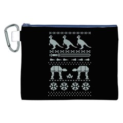 Holiday Party Attire Ugly Christmas Black Background Canvas Cosmetic Bag (xxl) by Onesevenart