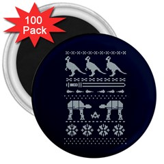 Holiday Party Attire Ugly Christmas Blue Background 3  Magnets (100 Pack) by Onesevenart