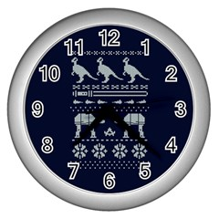 Holiday Party Attire Ugly Christmas Blue Background Wall Clocks (silver)  by Onesevenart