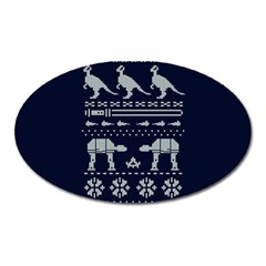 Holiday Party Attire Ugly Christmas Blue Background Oval Magnet by Onesevenart