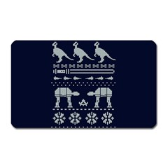 Holiday Party Attire Ugly Christmas Blue Background Magnet (rectangular) by Onesevenart