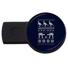 Holiday Party Attire Ugly Christmas Blue Background USB Flash Drive Round (1 GB) by Onesevenart