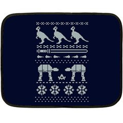 Holiday Party Attire Ugly Christmas Blue Background Fleece Blanket (mini) by Onesevenart