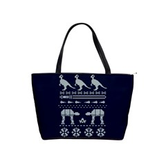 Holiday Party Attire Ugly Christmas Blue Background Shoulder Handbags by Onesevenart