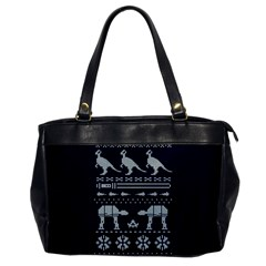 Holiday Party Attire Ugly Christmas Blue Background Office Handbags by Onesevenart