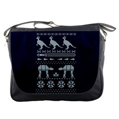 Holiday Party Attire Ugly Christmas Blue Background Messenger Bags by Onesevenart