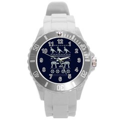 Holiday Party Attire Ugly Christmas Blue Background Round Plastic Sport Watch (l) by Onesevenart