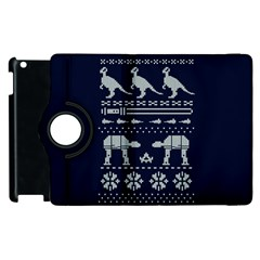 Holiday Party Attire Ugly Christmas Blue Background Apple Ipad 3/4 Flip 360 Case by Onesevenart