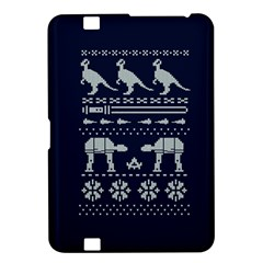 Holiday Party Attire Ugly Christmas Blue Background Kindle Fire Hd 8 9  by Onesevenart