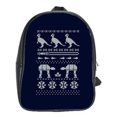 Holiday Party Attire Ugly Christmas Blue Background School Bags (xl)  by Onesevenart